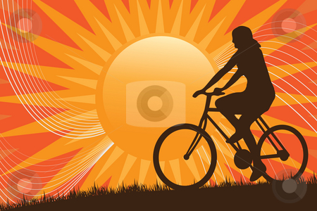 Mountain Biking Silhouette stock photo, A silhouette of a person riding a bike in front of the sun. by Todd Arena