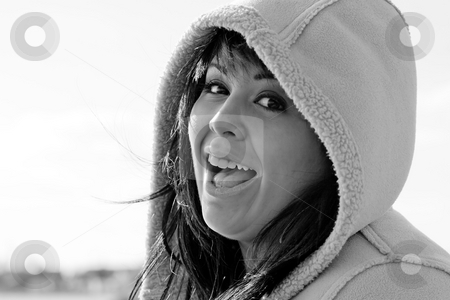 Spanish Beauty stock photo, A young hispanic woman with a hood on her head in black and white. by Todd Arena