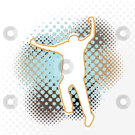 Halftone Running Man stock photo, A silhouette of a man running with his arms up in the air. by Todd Arena