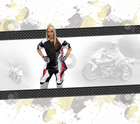 Motorcycle Woman Layout stock photo, Young woman wearing a motorcycle racing suit in a layout with copyspace. by Todd Arena