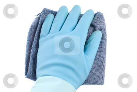Wiping White stock photo, Rubber glove and a cloth isolated against a white background by Richard Nelson