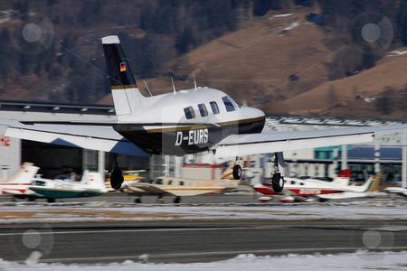 Piper on short final at Zell stock photo, Piper Malibu on short final for Zell (LOWZ) by Alexander Gerzabek