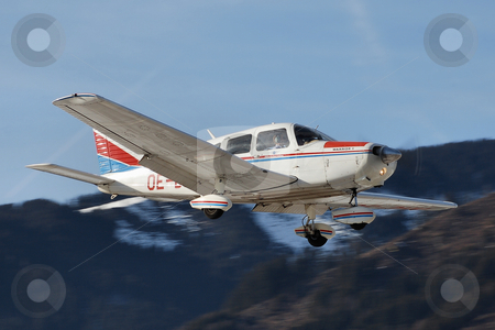 Piper on final for Zell stock photo, Piper PA-28 (OE-DHH) on final for Zell (LOWZ) by Alexander Gerzabek