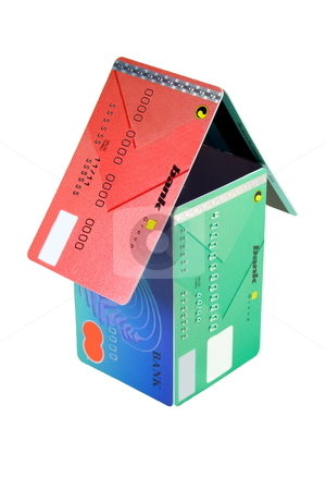 Bank card's house. stock photo, Bank card's house on the white background. by Viachaslau Barysevich