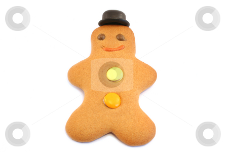 Gingerbread Man with Bowler hat stock photo, Focus is on face and hat by Helen Shorey