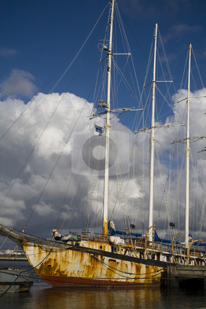 Old rusty tall ship stock photo, Wreck Tall ship in dock by Paulo Resende