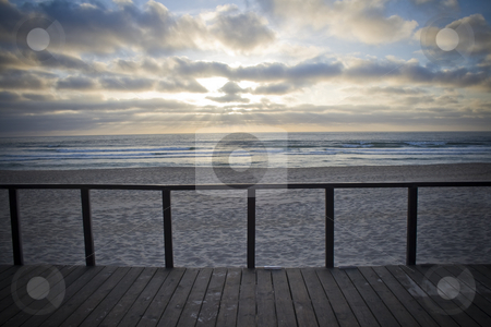 Balcony by the sunset stock photo, Wood balcony with view for the ocean by the sunset by Paulo Resende