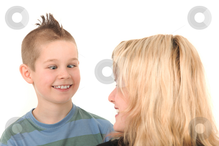 Fun stock photo, Young boy and his mother having fun by Tom P.