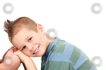 Care stock photo, Handsome young guy holding hands isolated on white background by Tom P.