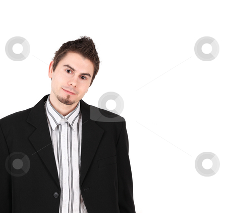 Young assistant stock photo, Man in black suit on white background with copy space by Tom P.