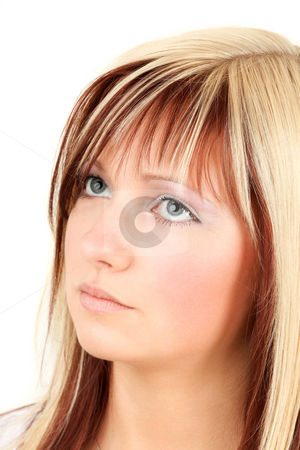 Look up stock photo, Young blonde teen is looking upstairs by Tom P.