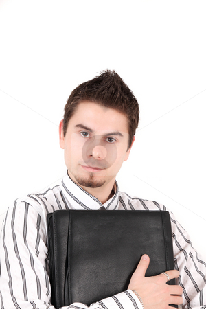 Assistant stock photo, Young seller with his briefcase isolated on white background by Tom P.