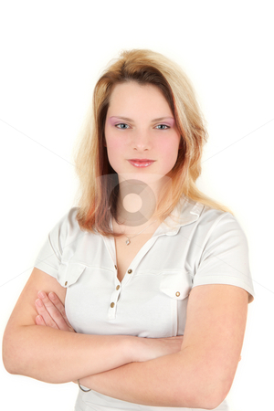 Young woman stock photo, Nineteen years old girl with white shirt by Tom P.