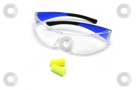 Safety Glasses and Earplugs stock photo, Plastic safety glasses and disposable earplugs by Helen Shorey