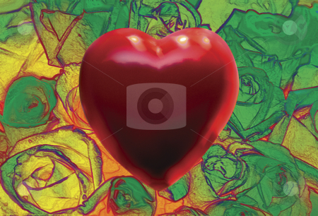 Love stock photo, Red Heart over Field of Green Roses by Miguel Dominguez
