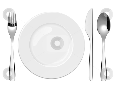 Place Setting stock vector clipart, Vector illustration of utensils and porcelain plate by Laurent Renault