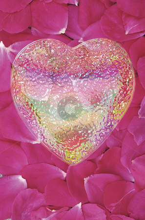 Heart of Glass #2 stock photo, Glass Heart over Field of Rose Petals by Miguel Dominguez