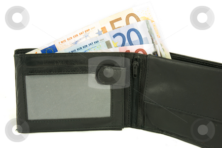 Walllet stock photo, Some Euro notes in open black wallet isolated on white background by Gert-Jan Kappert