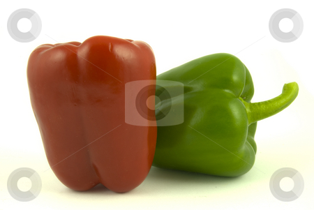Two bell peppers stock photo, Red and green bell peppers isolated on white background by Gert-Jan Kappert