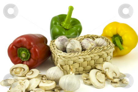 Pepper, garlics and champignon mushrooms  stock photo, Bell peppers with fresh garlics and sliced champignon mushrooms isolated on white background. by Gert-Jan Kappert
