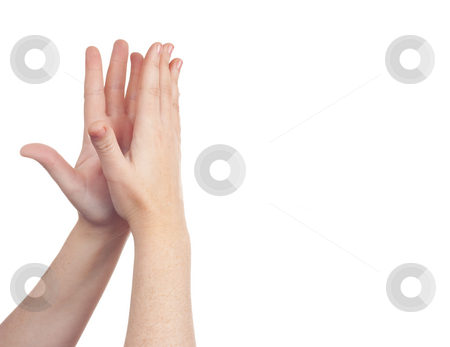 Hand sign symbol stock photo, Sign with the hand and fingers isolated over a withe background by Ivan Montero