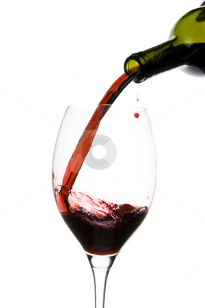 Wine glass restaurant stock photo, A clear glass of red wine isolated on white background by Ivan Montero