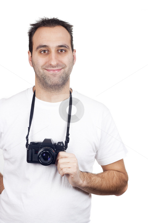 Isolated photography man stock photo, A photographer with a vintage analogic photographic camera isolated on withe background by Ivan Montero