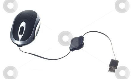 Computer technology mouse stock photo, Small computer mouse isolated on withe background by Ivan Montero