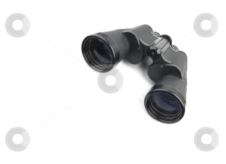Isolated binoculars stock photo, Close up of a binoculars tool isolated over a white background by Ivan Montero