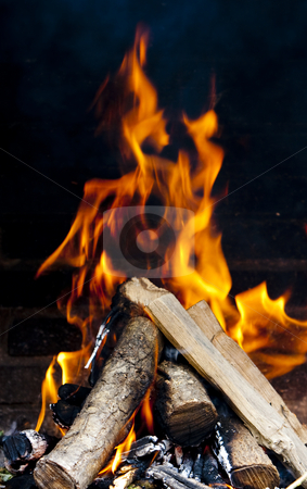 Fire flames stock photo, Flames burning from a log wood by Ivan Montero