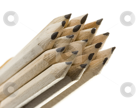 Isolated pencil stock photo, Assorted pencils isolated on withe background in a composition by Ivan Montero