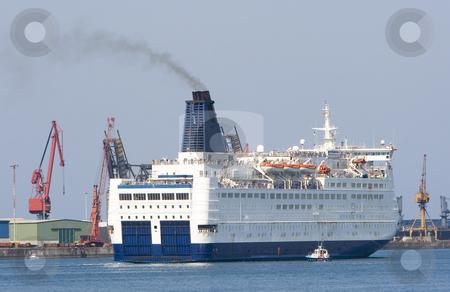 Transportation ferry stock photo, A ship leaving the port of santurce by Ivan Montero