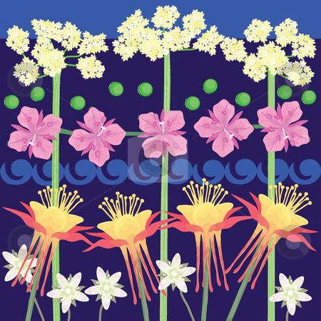 NORTHWEST FLORAL WALLPAPER stock vector clipart, FLORAL WALL PAPER OR CONTINUOUS BORDER USING AUTHENTIC FLOWER HEAD DRAWINGS OF FIREWEED, COLUMBINE, SPOTTED SAXIFRAGE AND COW PARSNIP. Elements can be used as botanical illustrations. by Maggie Bates