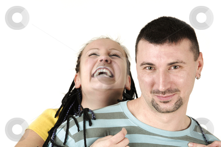 Happiness stock photo, Young couple is smiling together by Tom P.