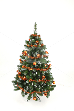 Christmas tree stock photo, Christmas tree in simply and orange decorations by Tom P.