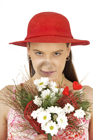 Romantic girl stock photo, Romantic girl holds Valentine's flowers by Tom P.