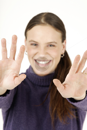 Young woman with hands up stock photo, Young woman and good bye by Tom P.
