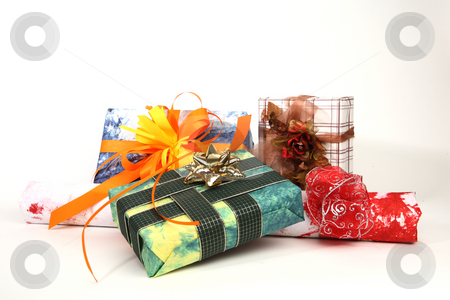 Christmas presents stock photo, Group of christmas presents on white background by Tom P.