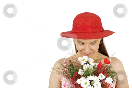 Woman in hat stock photo, Young woman in red hat with flowers isolated by Tom P.