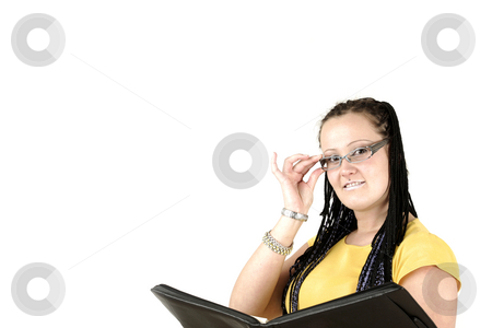 Manager stock photo, Manageress smiles behind glasses by Tom P.