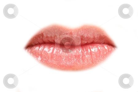 Lips stock photo, Detailed view on woman lips in pink color on white background by Tom P.