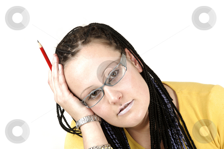Sad woman stock photo, Young businesswoman is unhappy by Tom P.