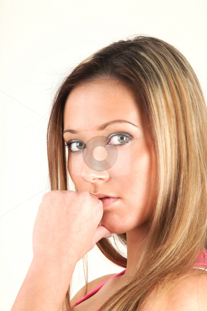 Cute young woman stock photo, Cute young woman and her think time by Tom P.