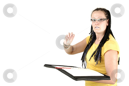 Repeat it please! stock photo, Manageress starts to write something by Tom P.