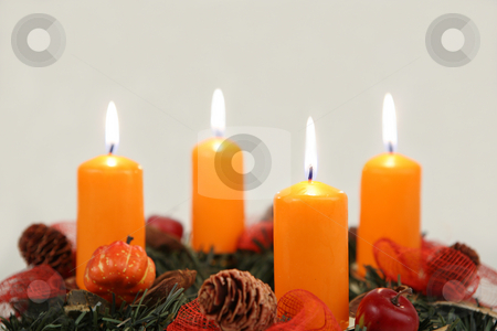 Afire candles  stock photo, Advent wreath with four candles close-up by Tom P.