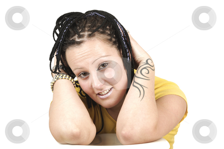 Portrait  stock photo, Portrait young cute woman with tattoos by Tom P.