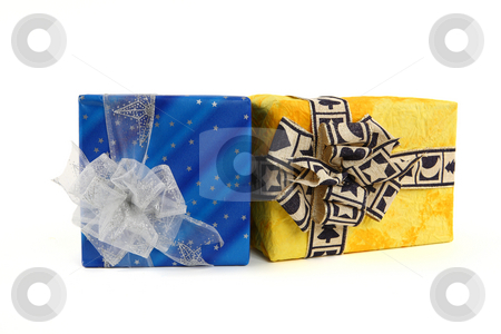 Christmas presents stock photo, Two christmas presents with ties on white background by Tom P.
