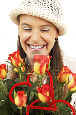 Surprise stock photo, Young girl is suprised by flowers by Tom P.
