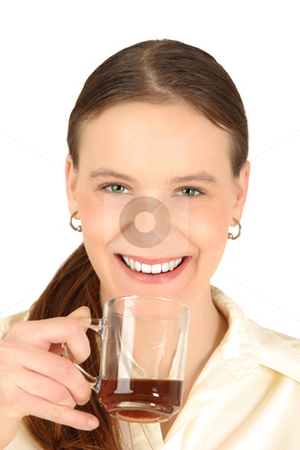 Youg girl with cup of coffee stock photo, Young girl keeps cup of coffee by Tom P.