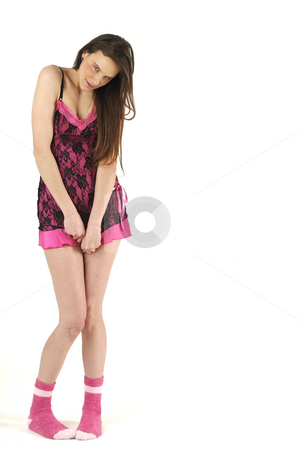 Girl stock photo, Pink lingerie and young woman isolated on white background by Tom P.